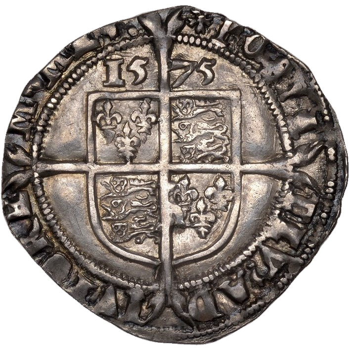 Reverse side of 1575 Elizabeth I Sixpence