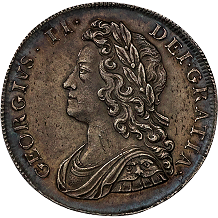 1739 Half Crown GEF Obverse