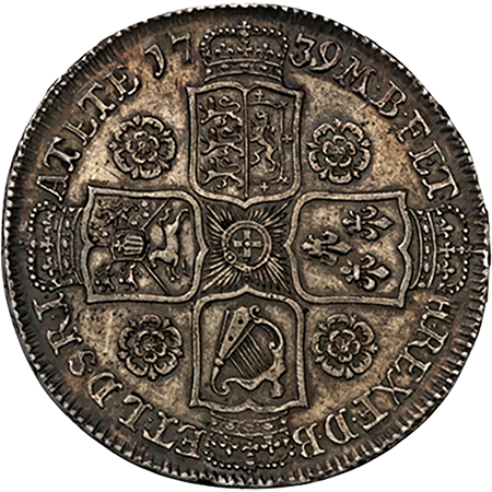 1739 Half Crown GEF Reverse