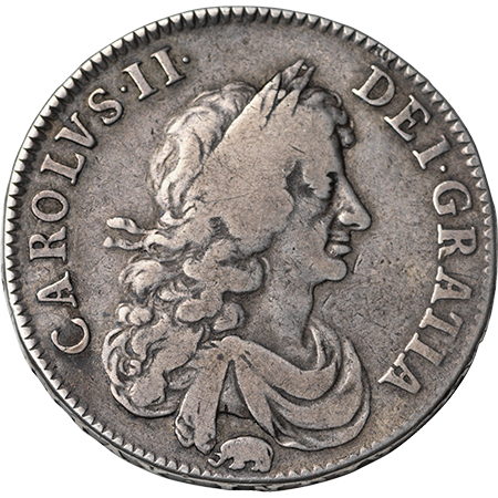 1666 Half Crown GF Obverse