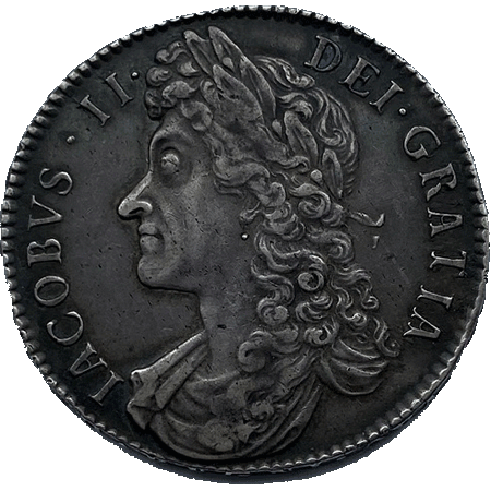1688 Half Crown GVF Obverse