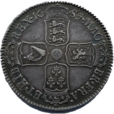 1688 Half Crown GVF Reverse